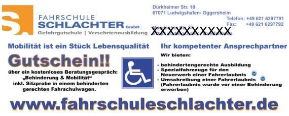 Gutschein über ein kostenloses Beratungsgespräch Behinderung und Mobilität sowie eine Sitzprobe im behinderten gerechten Fahrschulwagen